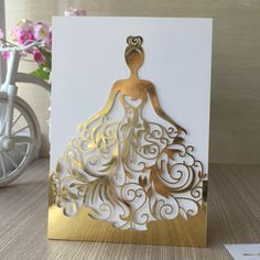 Laser Cut Beautiful Dress Girl Birthday Paty Wedding Invitation Cards Pretty Greeting Card photo ideas from Invitation Express Quince Invitations, Wedding Invitation Cards, Wedding Cards, Diy Wedding Favors, Print Invitations, Invitation Paper, Diy And Crafts, Paper Crafts, Dress Card