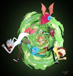 yaoyaoartblog: My husband and I made this Rick and Morty paper cutout fan art.