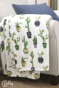$11.79 Cactus Pots Azalea Throw, #onzulilytoday. Soft yet durable, this well-constructed blanket promises to keep you warm and cozy with its prickle-free cactus print.