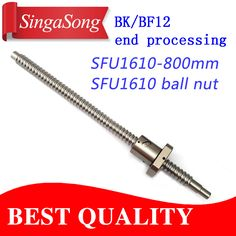 16mm 1610 Ball Screw Rolled C7 ballscrew SFU1610 800mm with one 1610 flange single ball nut for CNC parts #Affiliate