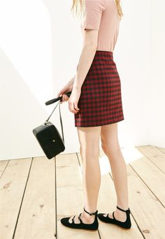 madewell buffalo check upstate skirt worn with the julie flat + manchester crossbody bag.