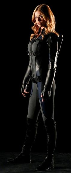 """Marvel has released our first look at Adrienne Palicki as full Mockingbird for next week's episode of Agents of SHIELD. Described as a """"tactical outfit"""" and Chloe Bennet, Michael Crichton, Marvel Characters, Marvel Movies, Gi Joe, Adrienne Palicki, Agents Of S.h.i.e.l.d, Tactical Suit, Looks Pinterest"""
