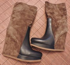 Jil Sander NEW suede & leather wedge boots | eBay