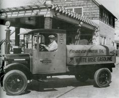 White Rose Gas Station  with a 1925 Federal Tanker Delivery Truck. Somewhere in Ohio 1920's