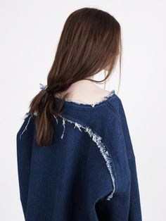 frayed rounded seams.