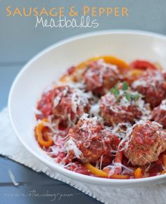 Sausage and Peppers Meatball Recipe (low carb and gluten free) by ibreatheimhungry.com