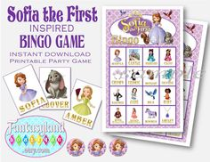 Sofia the First Inspired Bingo Game by FantasylandBoutique.etsy.com   INSTANT DOWNLOAD!!!  You print it!!!   Disney Princess