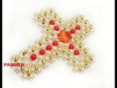 Beaded Jewelry Patterns, Beading Patterns, Beaded Cross, Cross Patterns, Diy Necklace, Bead Crafts, Bead Weaving, Glass Beads, Jewelry Making