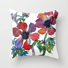 Anemones 2 Throw Pillow by Sofia Perina-Miller - $20.00