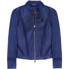 Roberto Cavalli Leather biker jacket (£730) ❤ liked on Polyvore featuring outerwear, jackets, coats, coats & jackets, leather moto jacket, zipper jacket, blue motorcycle jacket, cobalt blue leather jacket and blue jackets