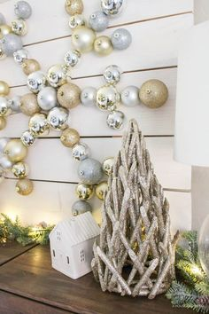 Neutral Rustic DIY Snowflake Ornament Display with The Home Depot | Christmas DIY | ahouseandadog.com {ad}