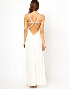 Enlarge Forever Unique Plunge Maxi Dress with Crystal Straps