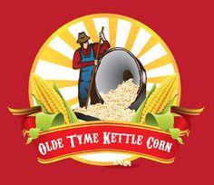 Vintage inspired logo design for Olde Time Kettle Corn - Kettle Corn, Round Logo, Vintage Logo Design, Round Design, Vintage Inspired, Graphics, Logos, Popcorn, Graphic Design