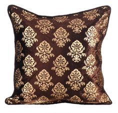 Gold Damask - 16x16 Inches Brown Velvet with Gold Print Pillow.