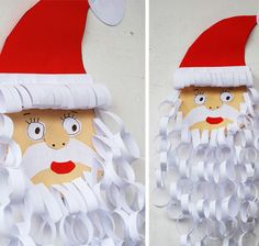 Simple DIY Christmas Craft Ideas for Kids - Paper Santa - Click PIN for 25 Holiday Decoration Ideas