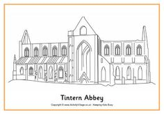 Tintern Abbey colouring page and links to other Welsh landmarks colouring pages.