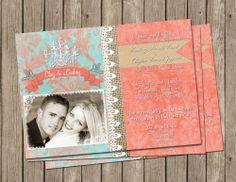 Coral and Aqua, Burlap Wedding Invitation, Digital file, Printable