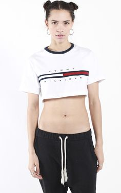 "Tommy Hilfiger rework crop t-shirt Measurements XS - Pit to Pit: 18"", Length: 13.5"" S - Pit to Pit: 19"", Length: 14.5""M - Pit to Pit: 21"", Length: 14.5"""