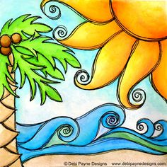 Shop for debi payne artwork and designs from the world's greatest living artists. All debi payne artwork ships within 48 hours and includes a money-back guarantee. Beach Drawing, Drawings, Tropical Artwork, Art Projects, Painting, Whimsical Art, Art, Tropical Art, Canvas Art