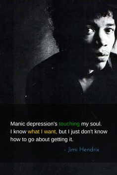 Manic depression's touching my soul. I know what I want, but I just don't know how to go about getting it.  – Jimi Hendrix