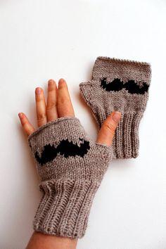 Moustache Glove / Hand Knitting Fingerless Gloves by gloveshop