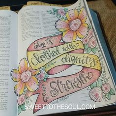 Bible Journaling art, Proverbs 31, ribbon, pink and yellow
