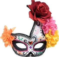 Floral Sugar Skull Masquerade Mask - Day of the Dead - Party City