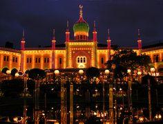 Tivoli Gardens in Copenhagen at night