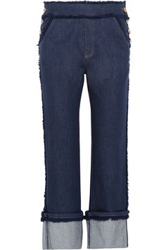 See by Chloé | Cropped frayed high-rise straight-leg jeans | NET-A-PORTER.COM