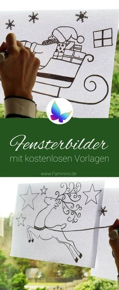 Window pictures for Christmas (with free templates) - Fensterbilder - Chalk Art Hobbies For Kids, Great Hobbies, Diy For Kids, Etsy Christmas, Xmas, Diy And Crafts, Paper Crafts, Hobby Room, Blogger Themes