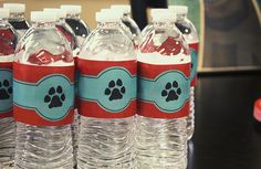 Dog Party  12 Water Bottle Labels by TieThatBindsWeddings on Etsy, $12.00