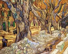 Vincent van Gogh: The Large Plane Trees, 1889. Created in Saint-Rémy, France.  Cleveland Museum of Art. 'While walking through Saint-Rémy that November, he was impressed by the sight of men repairing a road beneath immense plane trees. Rushing to capture the yellowing leaves, he painted this composition on an unusual cloth with a pattern of small red diamonds visible in the picture's many unpainted areas.'
