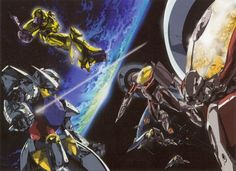 The Turn A fighting some Moon mobile suits.