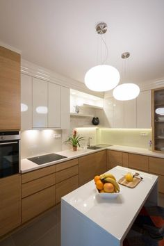 modern kitchen - wood texture / white