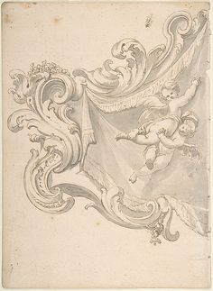 Design for a Crest with Drapery and Two Putti