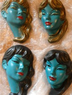 Bizarre looking PAIR CHALKWARE TRETCHIKOFF WALL MASKS.1950S RETRO PLAQUES GOLD OR BLACK HAIR | eBay