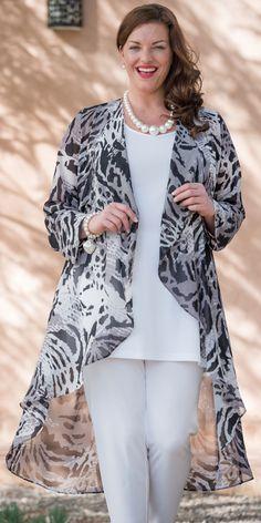 Box 2 black/grey chiffon print coat
