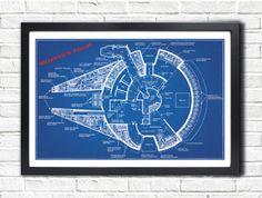 STAR WARS Millennium Falcon Blueprint by AtomicInspiredArt on Etsy