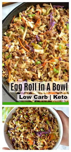 Low carb Egg Roll In A Bowl - Taste just like a classic egg roll minus all the carbs - easy 15 minute recipe! Low carb Egg Roll In A Bowl - Taste just like a classic egg roll minus all the carbs - easy 15 minute recipe! Asian Recipes, Keto Recipes, Dinner Recipes, Cooking Recipes, Healthy Recipes, Best Low Carb Recipes, Chili Recipes, Healthy Dinners, Shrimp Recipes