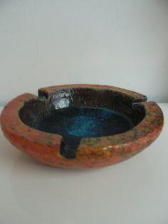 vintage 1960s heavy coffee table ashtray orange by secreteyesonly,
