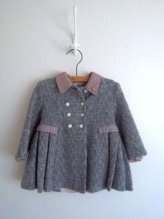 Vintage Child's Wool French Countryside Dress Coat