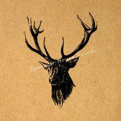 Vintage Art Deer Wall Art Deer with Antlers by SparrowHousePrints