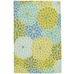 Calliope Mum Rug - 8x10 Blue - I have this rug it's much more vibrant and three dimensional than this photo.