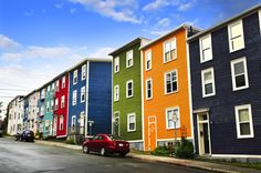 Street with colorful houses in St John s Newfoundland Canada Stock Photo Newfoundland Canada, Newfoundland And Labrador, Disney Magic, Voyage Canada, Terra Nova, Canadian Travel, Willemstad, Road Trip, Longyearbyen