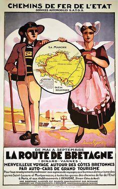 Bid Now: La Route de Bretagne (Vannes-Dinard) vers 1930 - April 3, 0121 2:00 PM CEST Train Route, Vintage Travel Posters, Poster On, French Vintage, Planer, Auction, Retro, April 3, Farmer