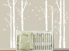 Nursery with Birch Trees and Birds. Pinning this to remind myself what too light of a wall looks like. I want more contrast than this between the wall color and the trees.
