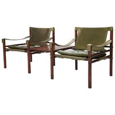 Pair of Arne Norell Rosewood Safari Sirocco Chairs with Detachable Table  1
