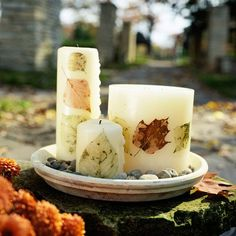 Autumn Candles Centerpiece. Decoupage leaves onto pillar candles for a touch of fall.  http://www.bhg.com/thanksgiving/indoor-decorating/holiday-decorating-projects/#page=3