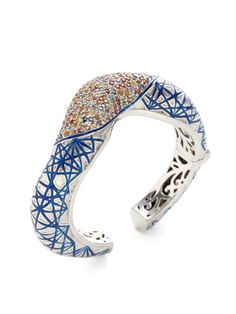 New Wave Blue Glitter Enamel & Multicolor Sapphire Cuff by M.C.L. By Matthew Campbell Laurenza at Gilt