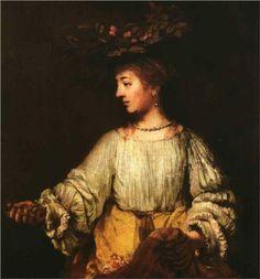 Portrait of Hendrickje Stofells as Flora - Rembrandt. 1659. Oil on canvas. 100 x 91.8 cm. Metropolitan Museum of Art, New York City NY, USA.